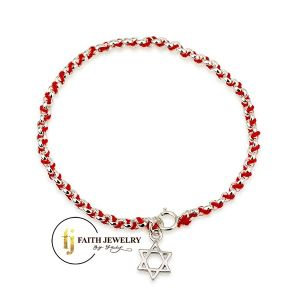 Red string bracelet with silver Star of David