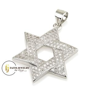 Classic Star of David Pendant silver with Zircon stones