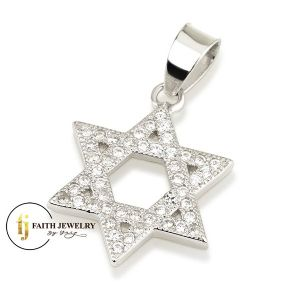 Star of David Pendant Sterling silver with full Zircon stones