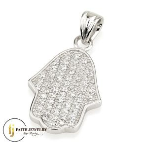 Hamsa jewelry silver with zircon stones