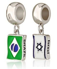 Flags - Israel-Brazil -Charms